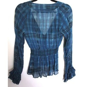 Nanette Lepore Tops - Nanette Lapore Silk Sheer Printed Femme Ruffle Top
